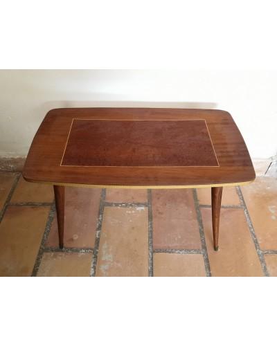 Table basse Bois laqué bicolore pieds compas années 70