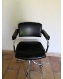 Chaise fauteuil de bureau vintage à roulettes années 70
