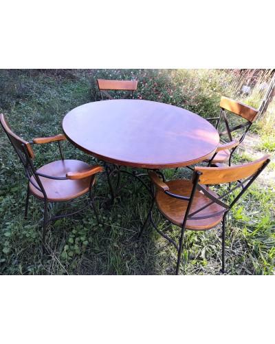 Salle à manger Table + 4 Fauteuils Chaises  Salon de jardin Fer forgé et bois