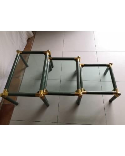 Série de 3 tables basses gigognes Vintage années 70 métal et laiton