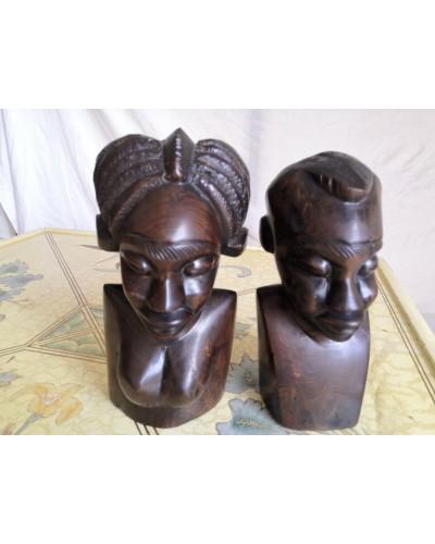 Serre livres Bustes Couple bois ébène africanisme vintage