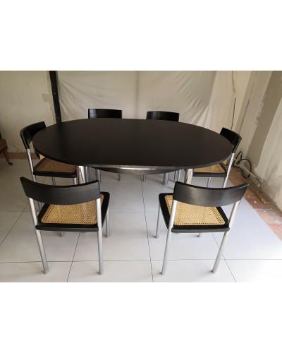 Table salle à manger + 6 chaises cannage vintage années 70