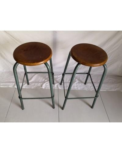 Duo de Tabourets industriels d'atelier hauts années 60 vintage