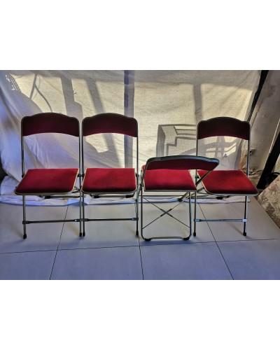 Suite de 4 chaises pliantes Opéra velours rouge et structure laiton Vintage