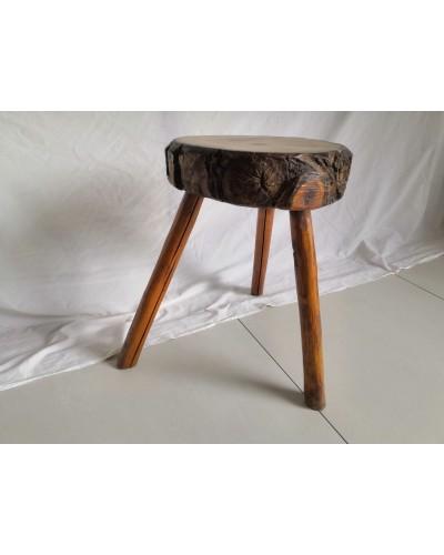 Tabouret Bout de canapé tripode brutaliste rondin  bois vintage