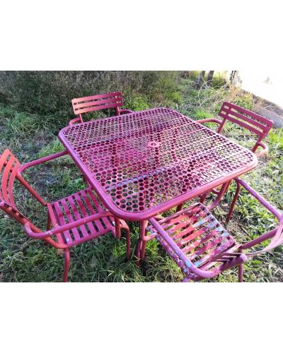 Salon de jardin tout métal: 1 table perforée et 4 fauteuils  chaises VINTAGE Années 50