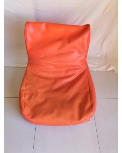 Pouf skaï orange années 70 vintage
