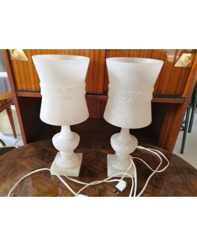 Paire de lampes en albâtre blanc massif des années 60 vintage
