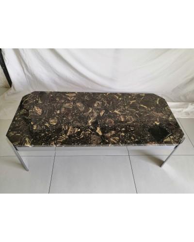 Table basse rectangulaire marbre et chrome Vintage Années 70