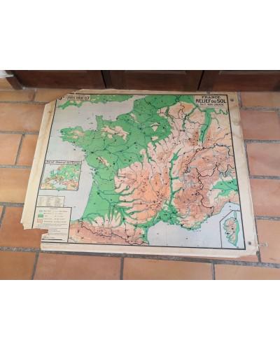 Carte Scolaire ancienne FRANCE Relief du Sol