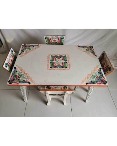 Salon table + 4 chaises enfant vintage ethnique