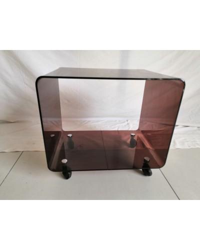 Table basse d'appoint à roulettes Chevet plexiglas fumé vintage années 70