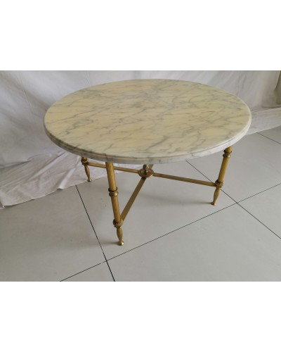 table basse marbre et laiton vintage années 60