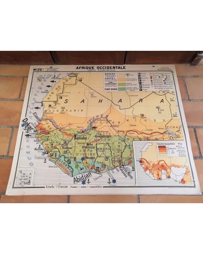 Carte Scolaire ancienne AFRIQUE OCCIDENTALE N°25bis/26