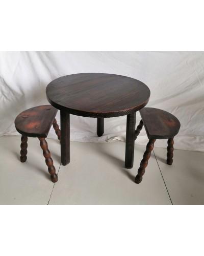 Salon Table basse d'appoint + 2 tabourets brutaliste vintage
