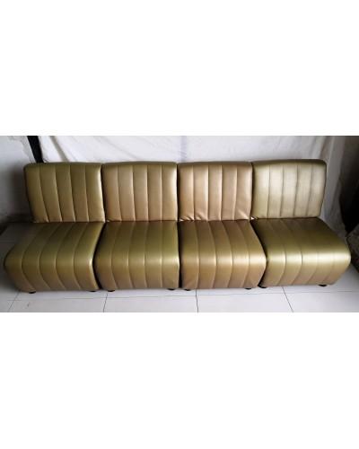 Canapé modulable chauffeuses vintage 4 places Skaï