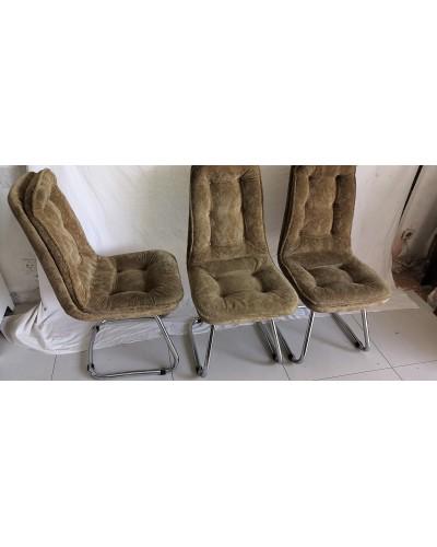 Suite de 3 chaises fauteuils vintage chrome et velours Années 70