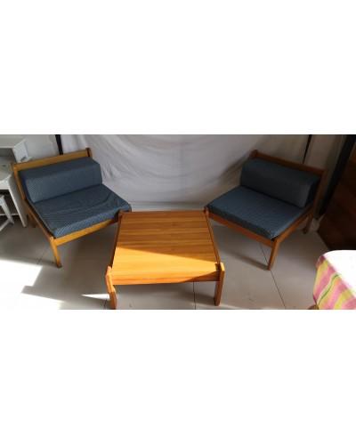 Salon 2 fauteuils et Table basse Pin vintage Années 80