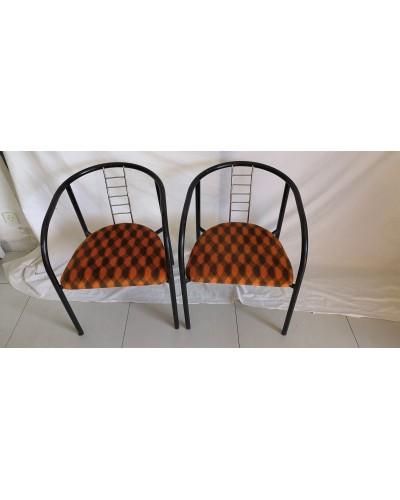 Duo de fauteuils vintage métal et velours