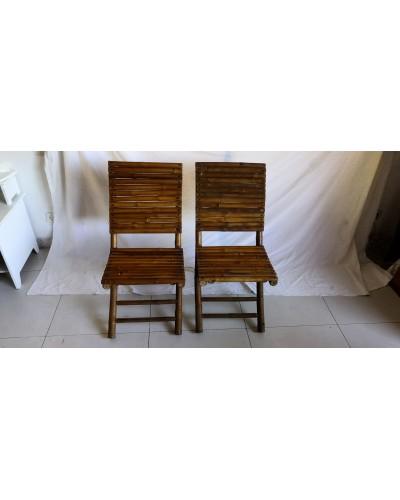 Duo de chaises pliantes en bambou vintage années 70
