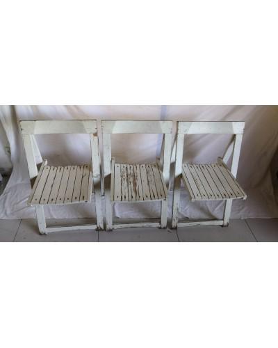Trio de chaises pliantes vintage Aldo JACOBER Années 60