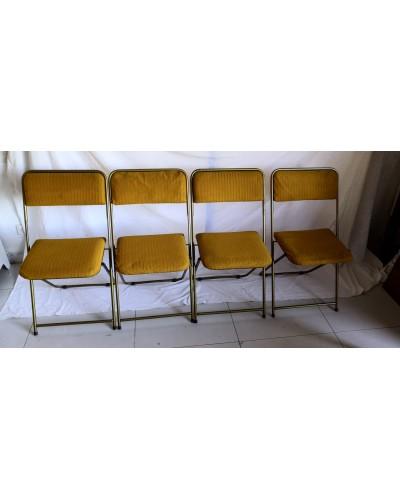 Suite de 4 chaises pliantes Laiton  LAFUMA  Années 70