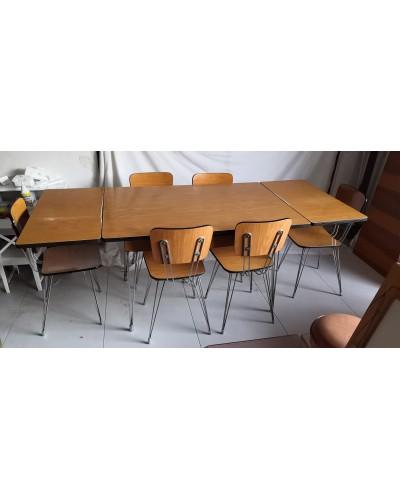 Table et 6 chaises en formica pieds eiffel Vintage Années 50