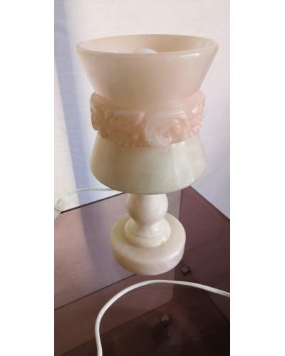Lampe de chevet en albâtre rose vintage